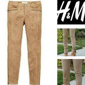 H&M L.O.G.G. Tan Faux Suede Pant Fit like 8